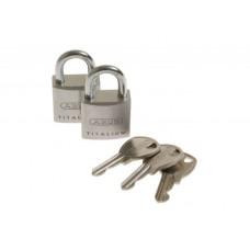 2 Катинара ABUS TITALIUM TWINS 20mm на един ключ, 3 ключа в комплекта/727TI/20